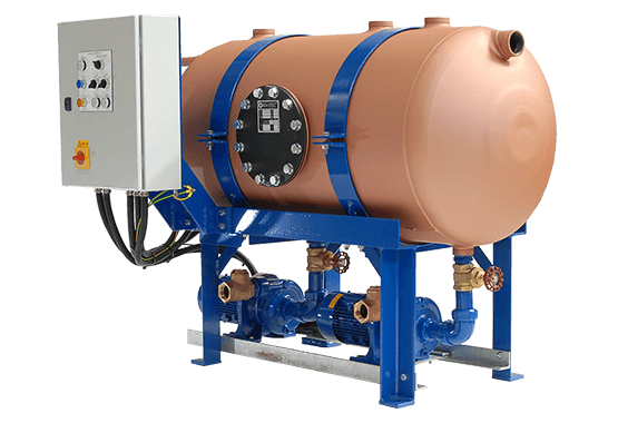 Condensate recovery unit with copper tank and control panel